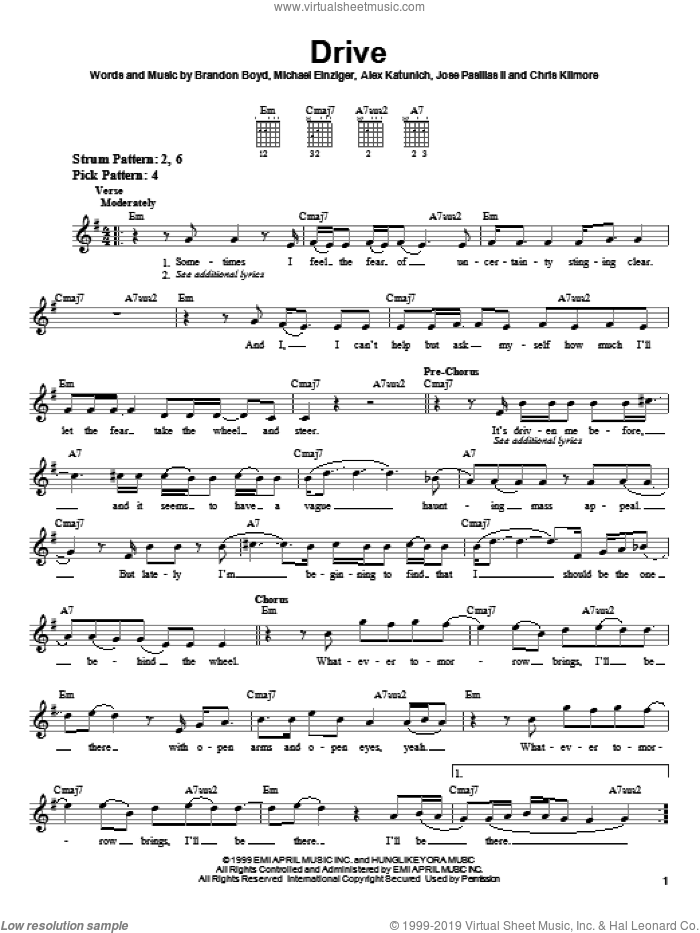Drive sheet music for guitar solo (chords) by Incubus, Alex Katunich, Brandon Boyd and Michael Einziger, easy guitar (chords)