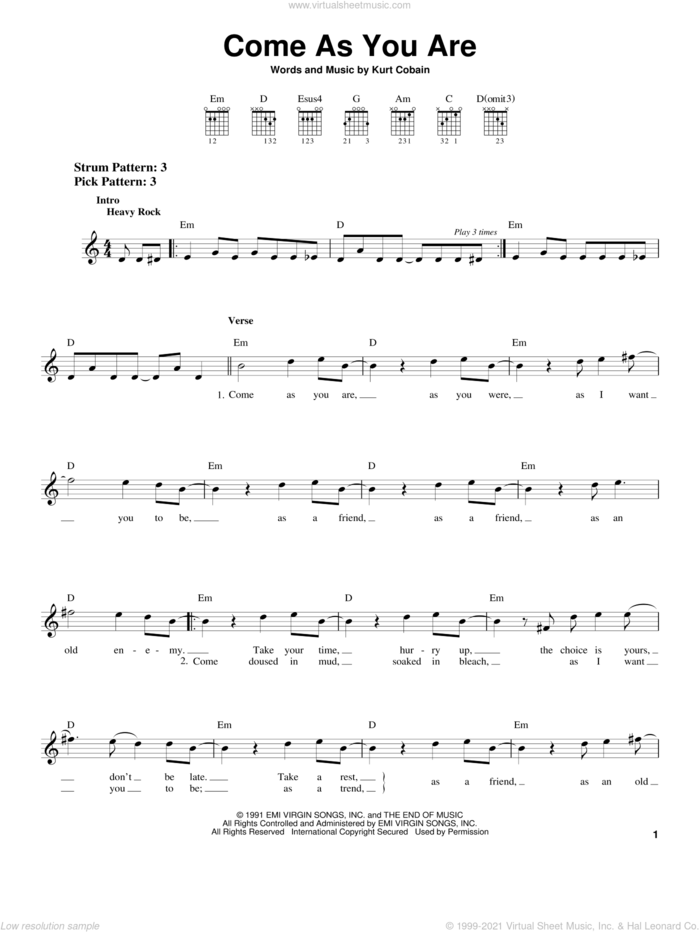 Come As You Are sheet music for guitar solo (chords) by Nirvana and Kurt Cobain, easy guitar (chords)