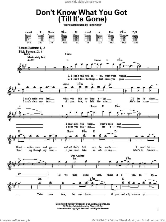 Don't Know What You Got (Till It's Gone) sheet music for guitar solo (chords) by Cinderella and Tom Keifer, easy guitar (chords)