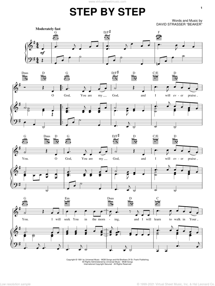 Step By Step sheet music for voice, piano or guitar by Rich Mullins and David Strasser Beaker, intermediate skill level