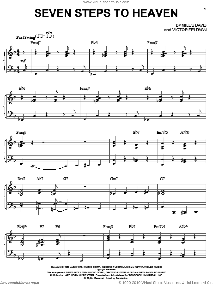 Seven Steps To Heaven sheet music for voice, piano or guitar by Miles Davis and Victor Feldman, intermediate skill level