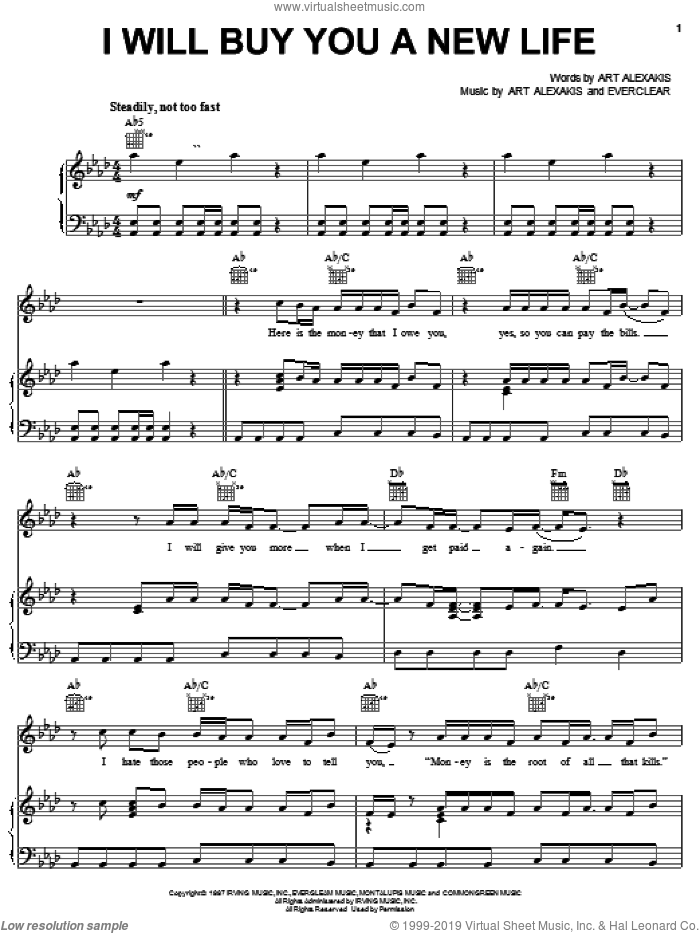 I Will Buy You A New Life sheet music for voice, piano or guitar by Everclear and Art Alexakis, intermediate skill level