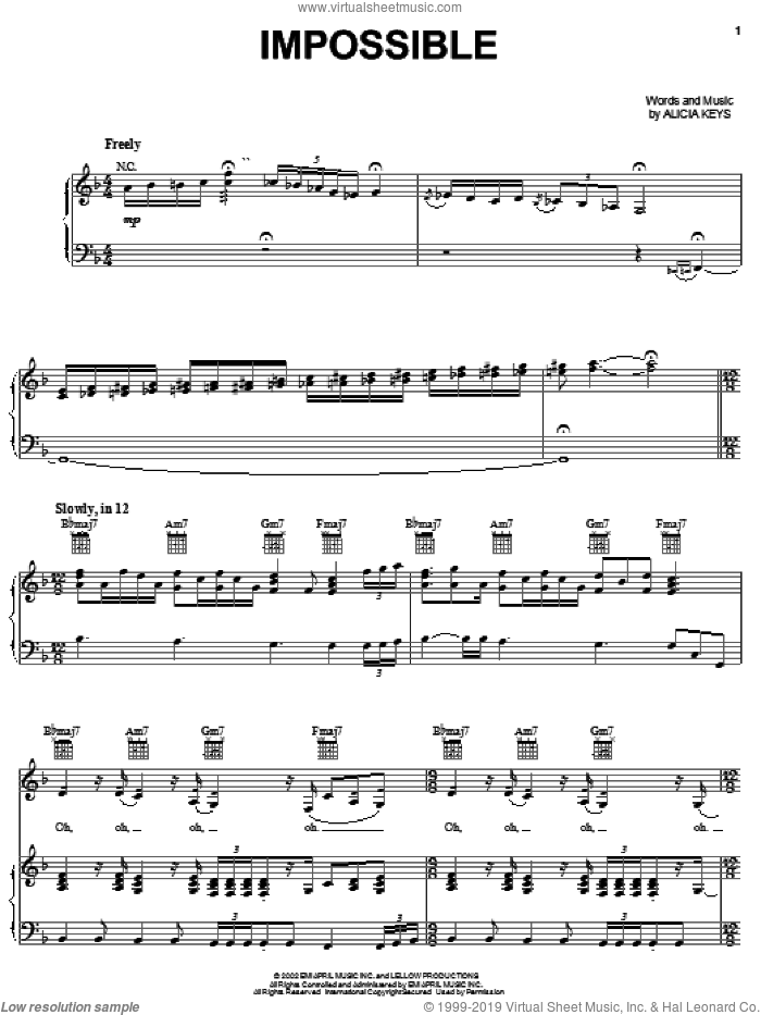 Impossible sheet music for voice, piano or guitar by Christina Aguilera and Alicia Keys, intermediate skill level