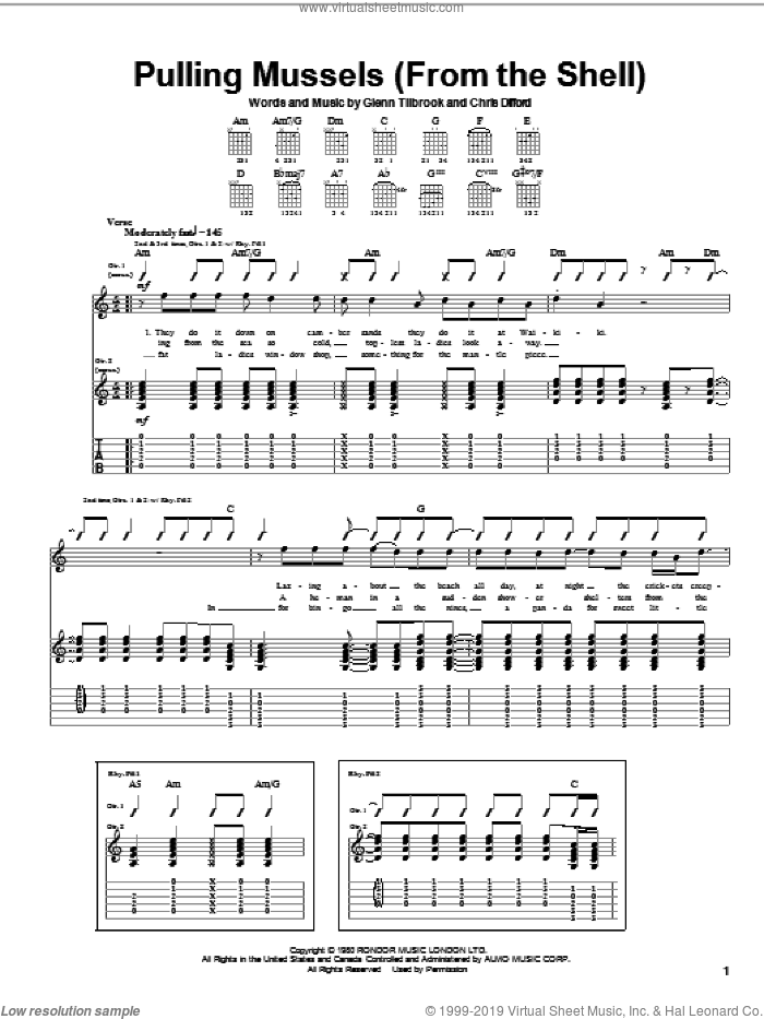 Pulling Mussels (From The Shell) sheet music for guitar (tablature) by Squeeze, John Stakel, Christopher Difford and Glenn Tilbrook, intermediate skill level