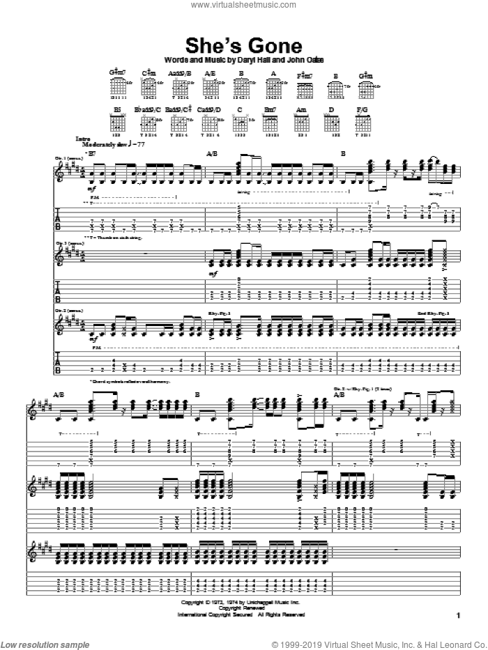 She's Gone sheet music for guitar (tablature) by Daryl Hall, Hall and Oates and John Oates, intermediate skill level