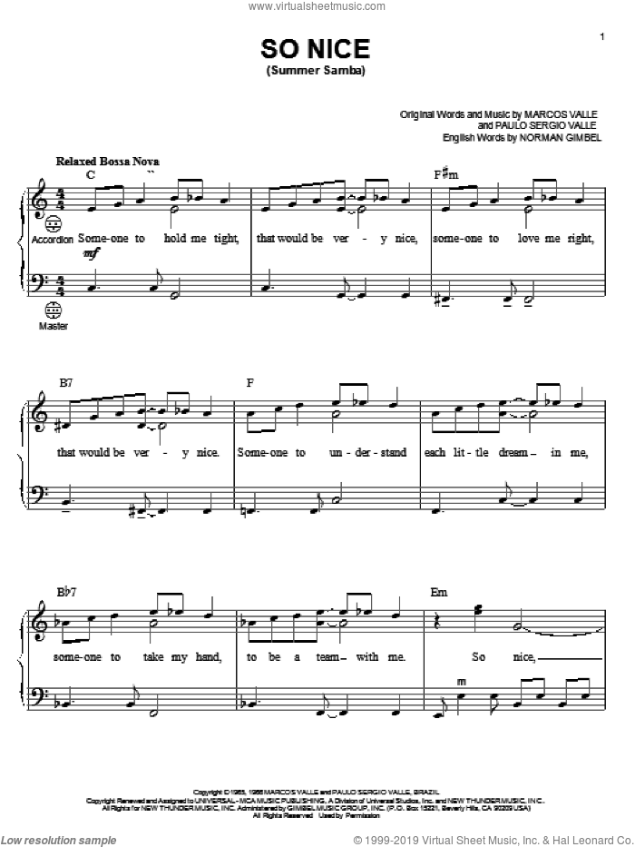 So Nice (Summer Samba) sheet music for accordion by Marcos Valle, Gary Meisner, Norman Gimbel and Paulo Sergio Valle, intermediate skill level