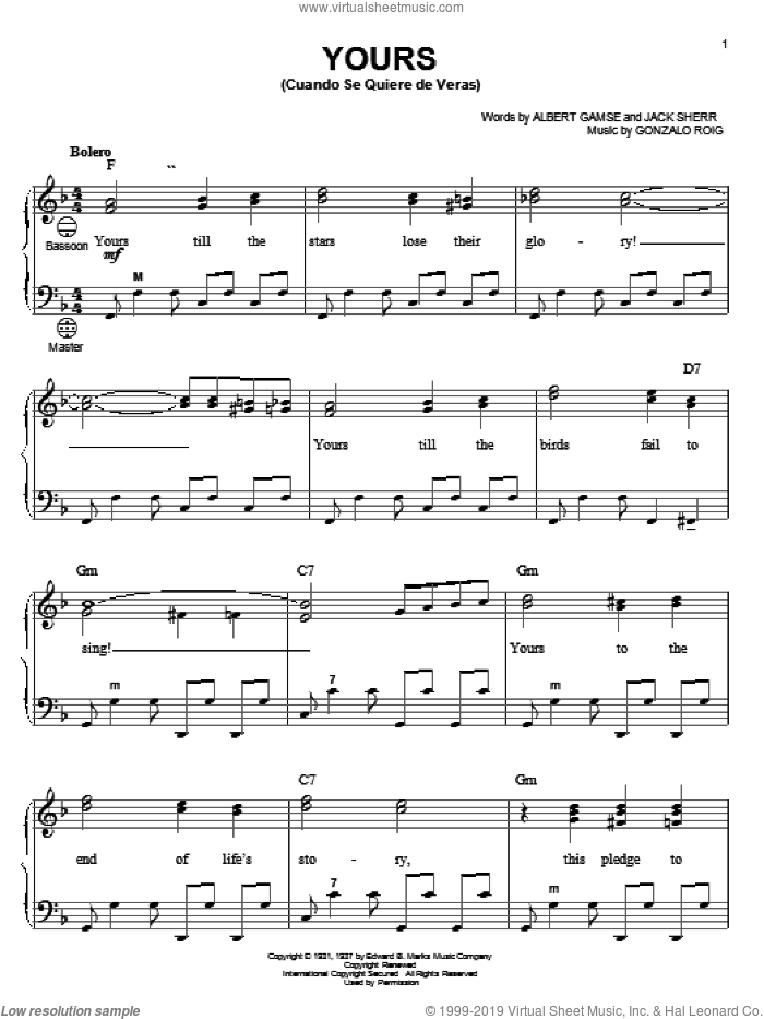 Yours (Cuando Se Quiere De Veras) sheet music for accordion by Gonzalo Roig, Gary Meisner, Albert Gamse and Jack Sherr, intermediate skill level