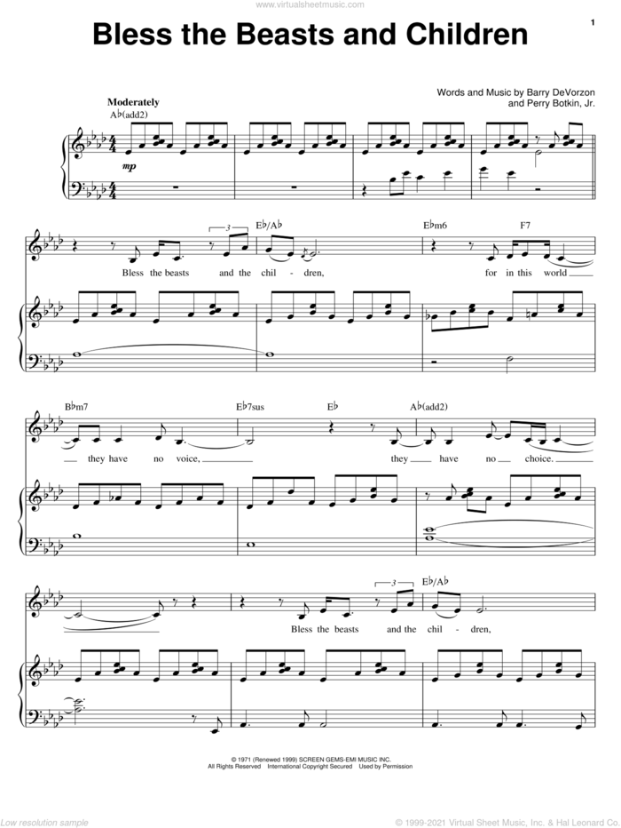 Bless The Beasts And Children sheet music for voice and piano by Carpenters, Barry DeVorzon and Perry Botkin, Jr., intermediate skill level
