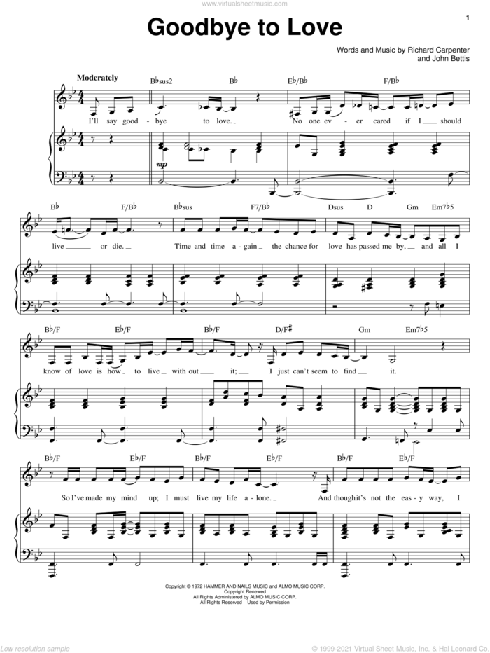 Goodbye To Love sheet music for voice and piano by Carpenters, John Bettis and Richard Carpenter, intermediate skill level