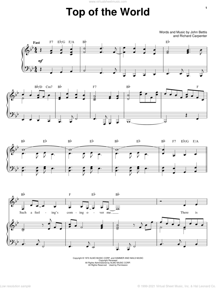 Top Of The World sheet music for voice and piano by Carpenters, John Bettis and Richard Carpenter, intermediate skill level