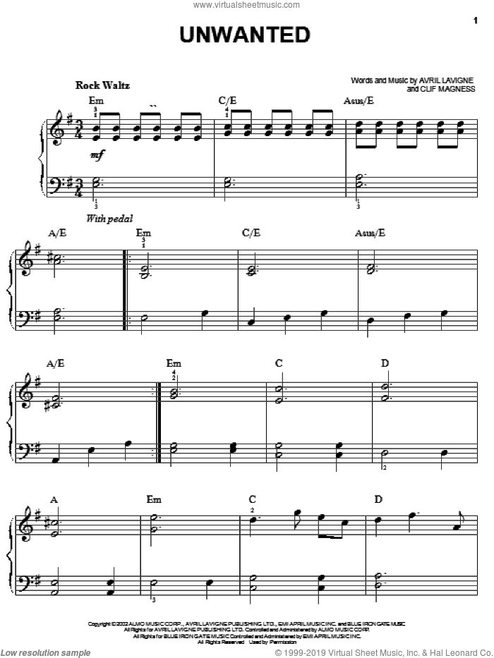 Unwanted sheet music for piano solo by Avril Lavigne and Clif Magness, easy skill level