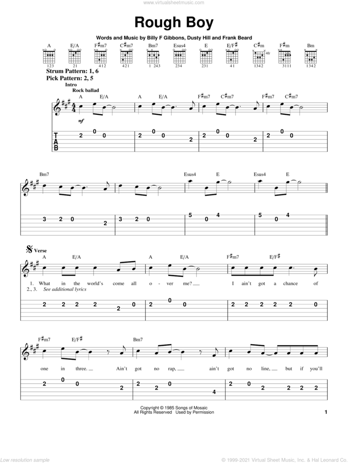 Rough Boy sheet music for guitar solo (easy tablature) by ZZ Top, Billy Gibbons, Dusty Hill and Frank Beard, easy guitar (easy tablature)