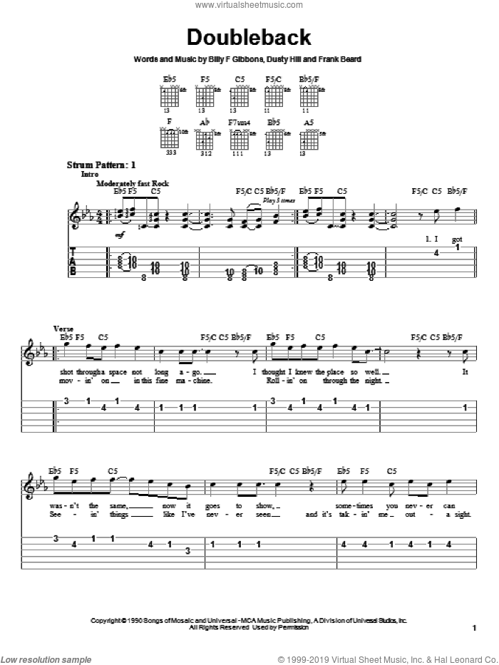 Doubleback sheet music for guitar solo (easy tablature) by ZZ Top, Billy Gibbons, Dusty Hill and Frank Beard, easy guitar (easy tablature)