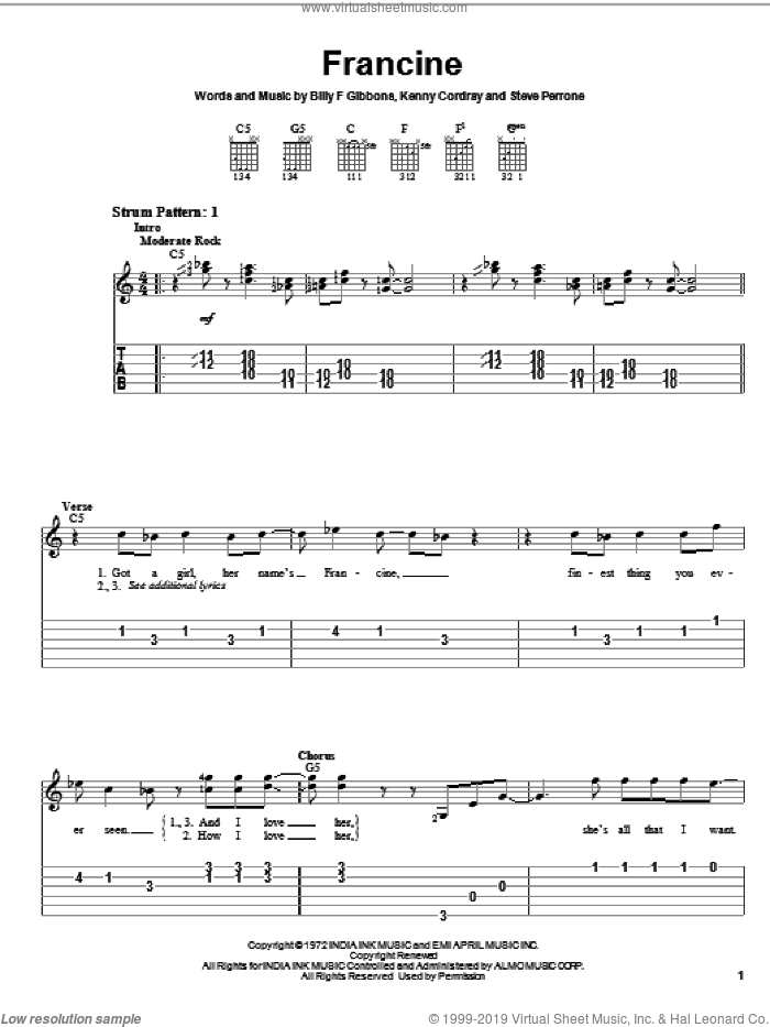 Francine sheet music for guitar solo (easy tablature) by ZZ Top, Billy Gibbons, Kenny Cordray and Steve Perrone, easy guitar (easy tablature)