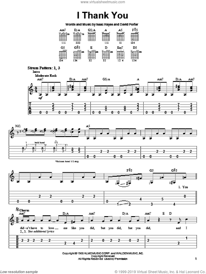 I Thank You sheet music for guitar solo (easy tablature) by ZZ Top, Sam & Dave, David Porter and Isaac Hayes, easy guitar (easy tablature)