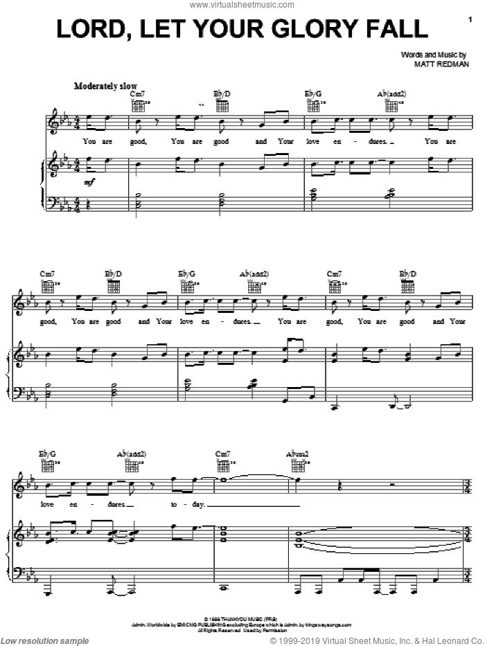 Lord, Let Your Glory Fall sheet music for voice, piano or guitar by Matt Redman and Phillips, Craig & Dean, intermediate skill level