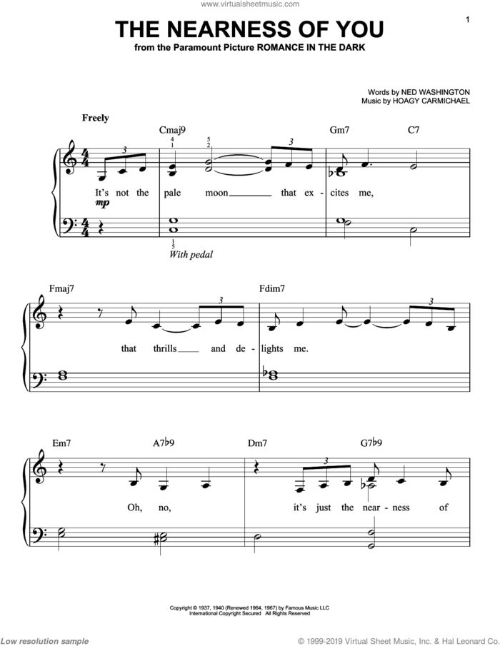 The Nearness Of You, (easy) sheet music for piano solo by Norah Jones, Hoagy Carmichael and Ned Washington, easy skill level