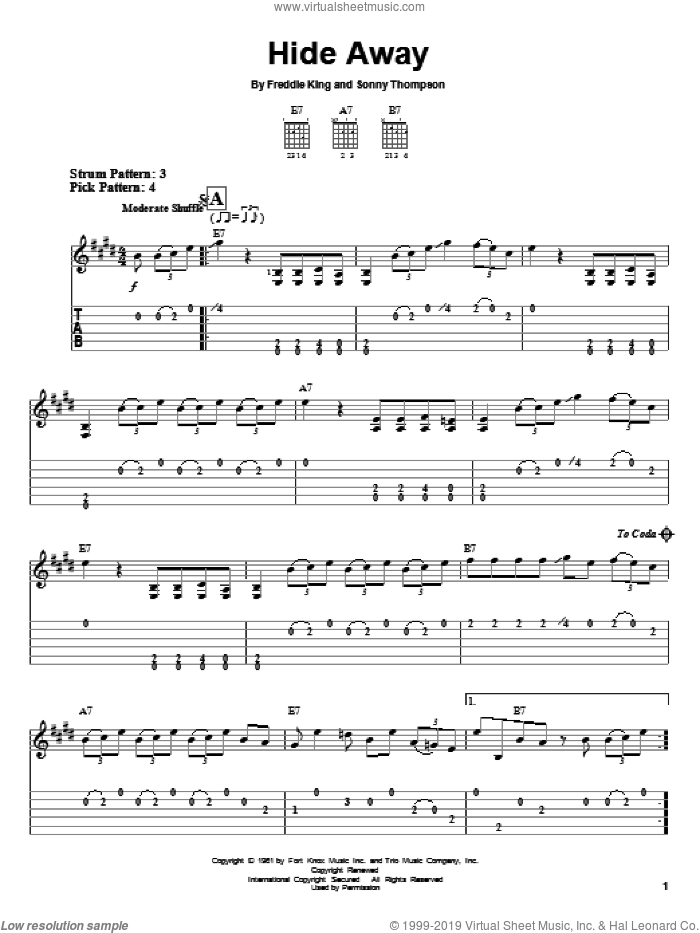 Hide Away sheet music for guitar solo (easy tablature) by Eric Clapton, Freddie King and Sonny Thompson, easy guitar (easy tablature)
