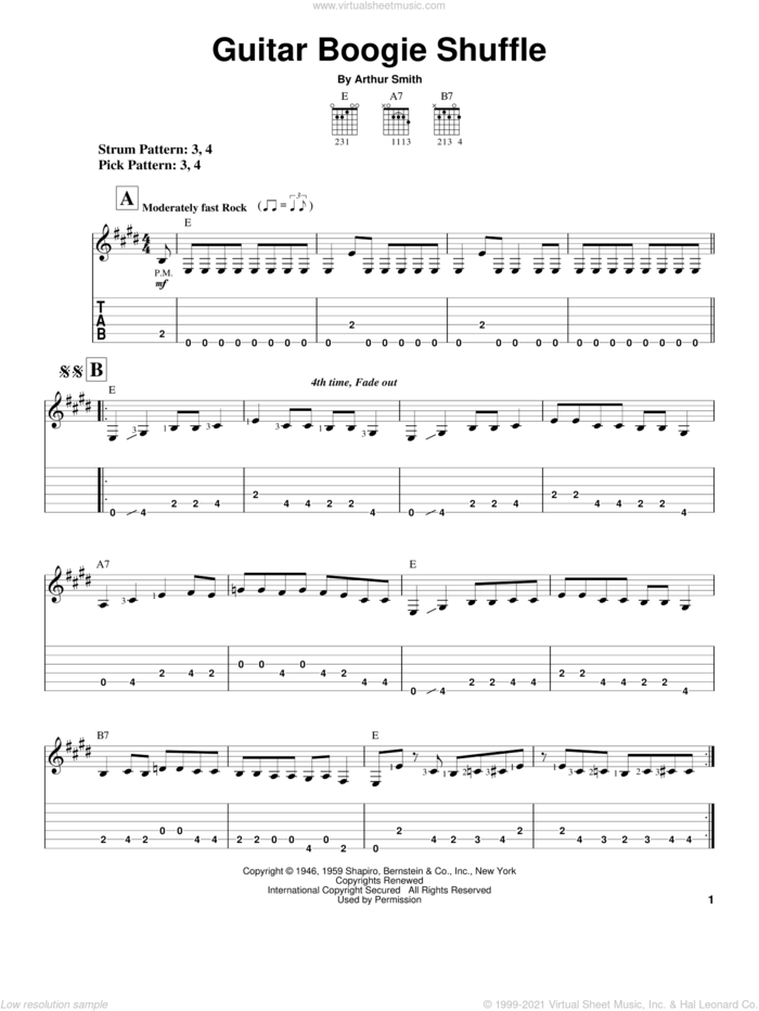 Guitar Boogie Shuffle sheet music for guitar solo (easy tablature) by The Virtues, The Ventures and Arthur Smith, easy guitar (easy tablature)