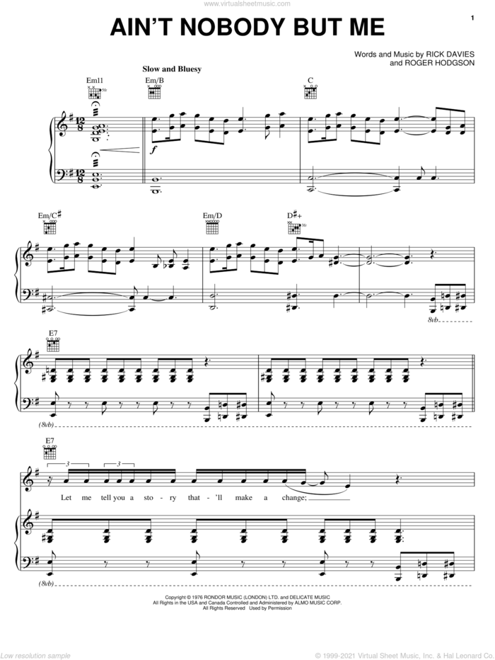 Ain't Nobody But Me sheet music for voice, piano or guitar by Supertramp, Rick Davies and Roger Hodgson, intermediate skill level