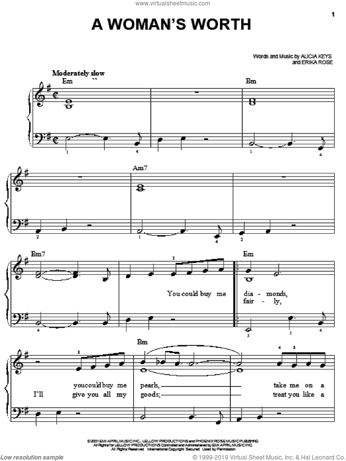 A Woman's Worth sheet music for piano solo by Alicia Keys and Erika Rose, easy skill level