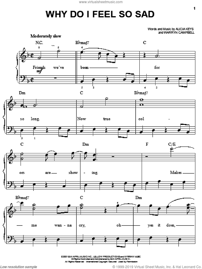 Why Do I Feel So Sad sheet music for piano solo by Alicia Keys and Warryn Campbell, easy skill level