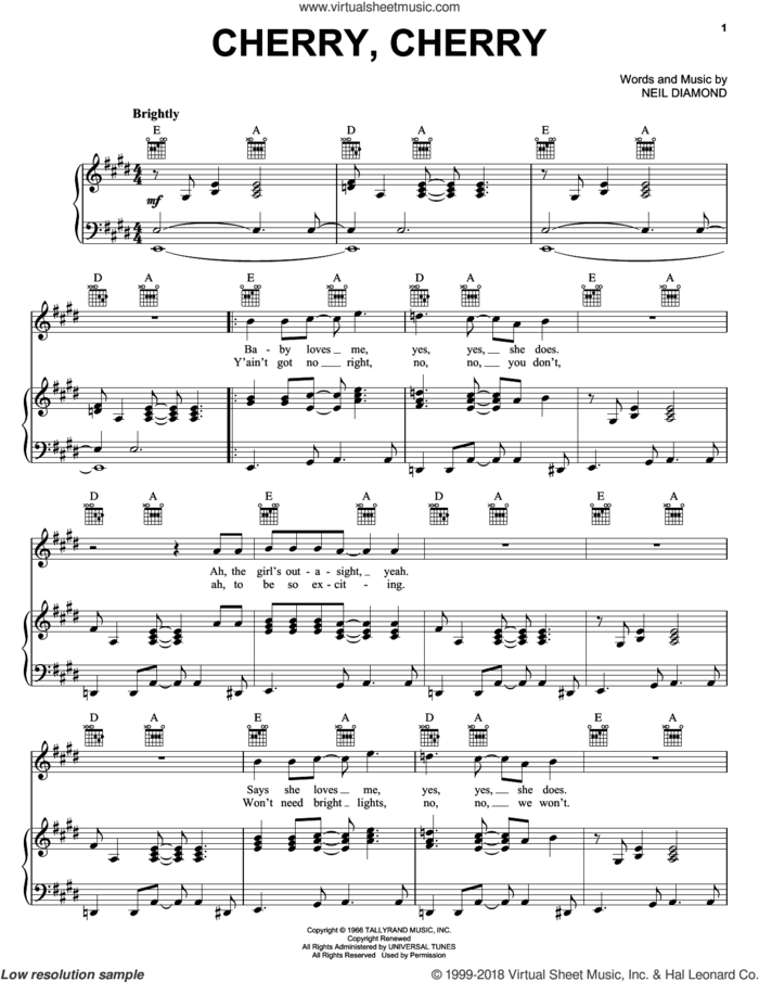 Cherry, Cherry sheet music for voice, piano or guitar by Neil Diamond, intermediate skill level