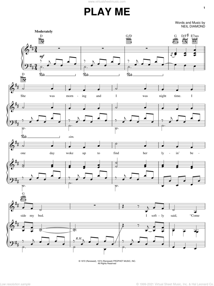 Play Me sheet music for voice, piano or guitar by Neil Diamond, intermediate skill level