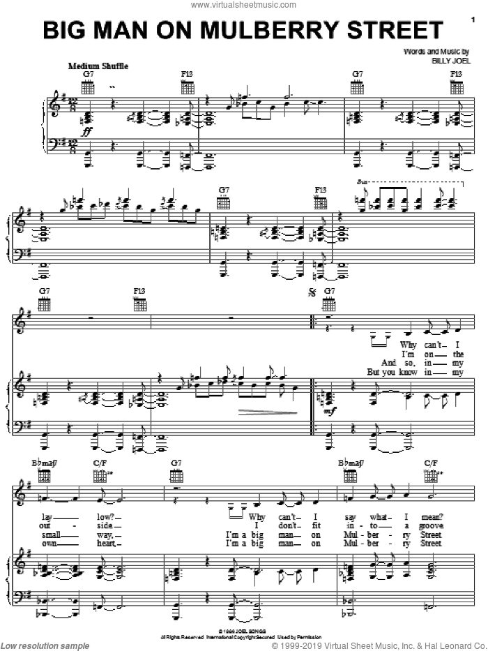 Big Man On Mulberry Street sheet music for voice, piano or guitar by Billy Joel, intermediate skill level