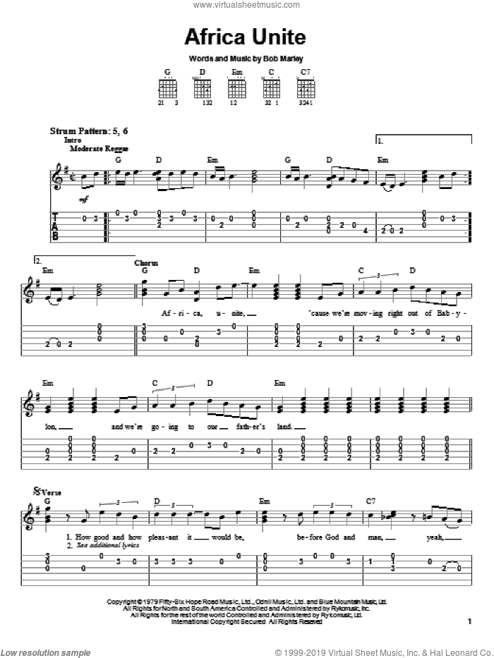 Africa Unite sheet music for guitar solo (easy tablature) by Bob Marley and Bob Marley and The Wailers, easy guitar (easy tablature)