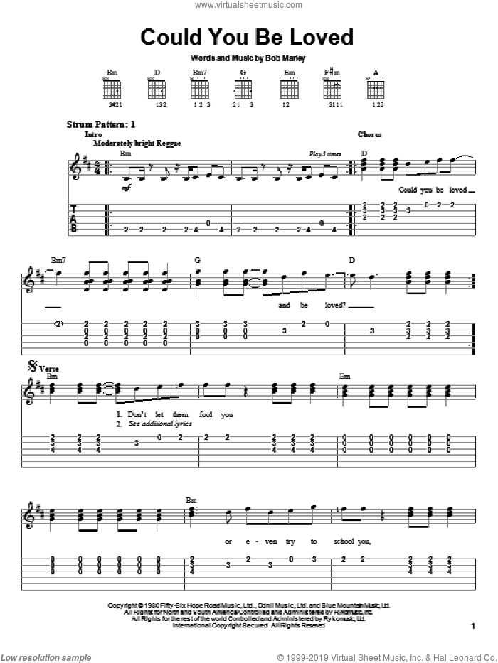 Could You Be Loved sheet music for guitar solo (easy tablature) by Bob Marley and Bob Marley and The Wailers, easy guitar (easy tablature)