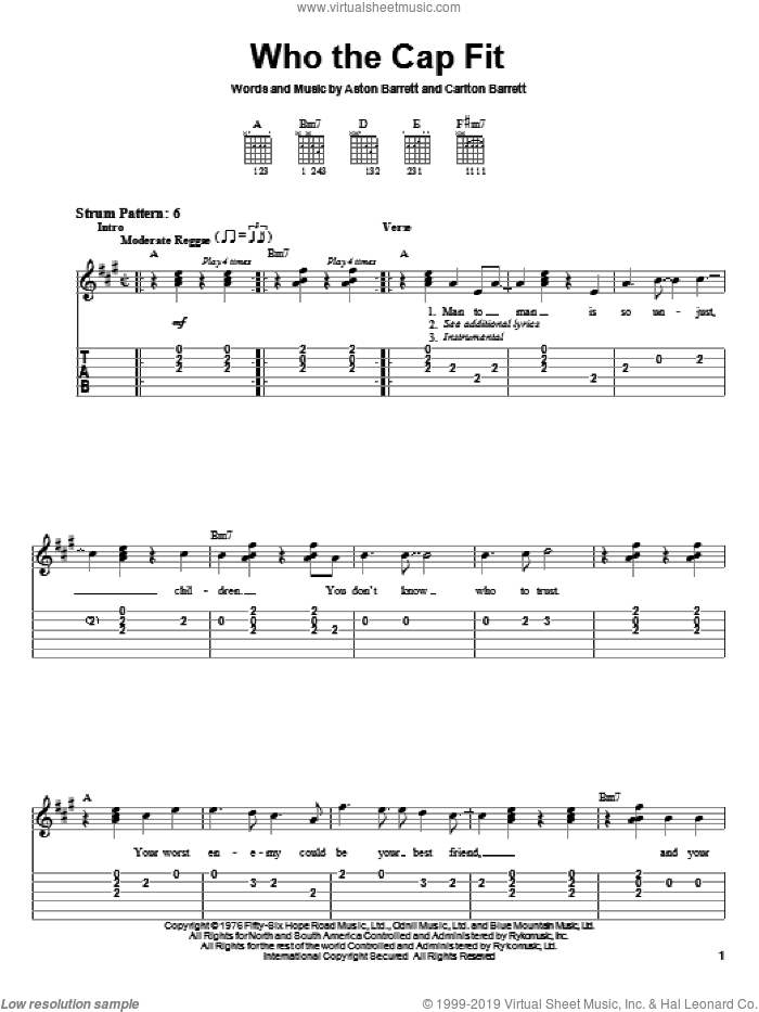 Who The Cap Fit sheet music for guitar solo (easy tablature) by Bob Marley, Aston Barrett and Carlton Barrett, easy guitar (easy tablature)