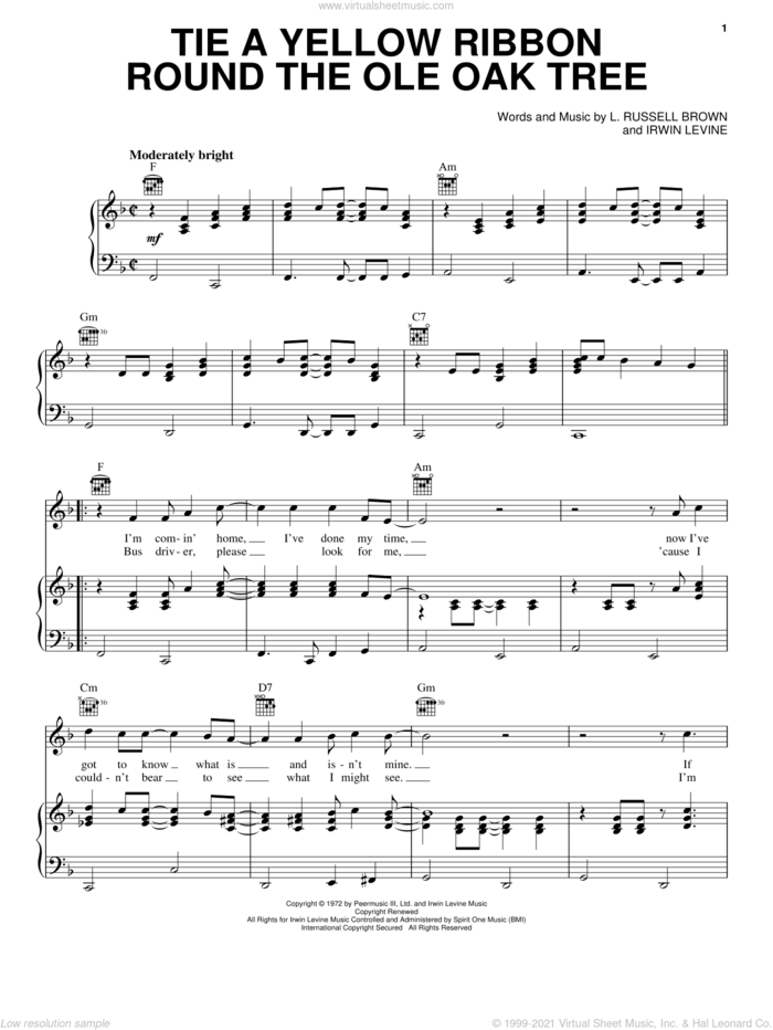Tie A Yellow Ribbon Round The Ole Oak Tree sheet music for voice, piano or guitar by Tony Orlando, Johnny Carver, Tony Orlano & Dawn, Irwin Levine and L. Russell Brown, intermediate skill level