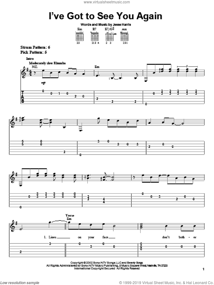 I've Got To See You Again sheet music for guitar solo (easy tablature) by Norah Jones and Jesse Harris, easy guitar (easy tablature)