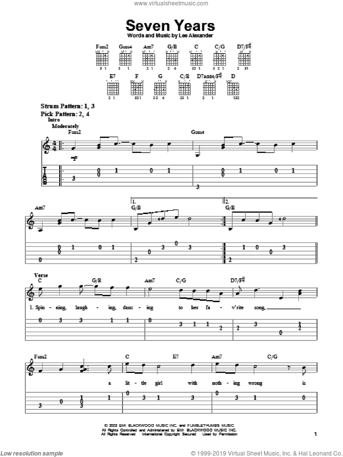 Seven Years sheet music for guitar solo (easy tablature) by Norah Jones and Lee Alexander, easy guitar (easy tablature)