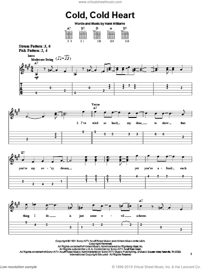 Cold, Cold Heart sheet music for guitar solo (easy tablature) by Norah Jones, Tony Bennett and Hank Williams, easy guitar (easy tablature)