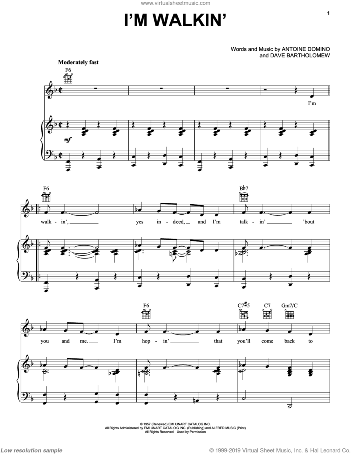 I'm Walkin' sheet music for voice, piano or guitar by Ricky Nelson, Fats Domino, Antoine Domino and Dave Bartholomew, intermediate skill level