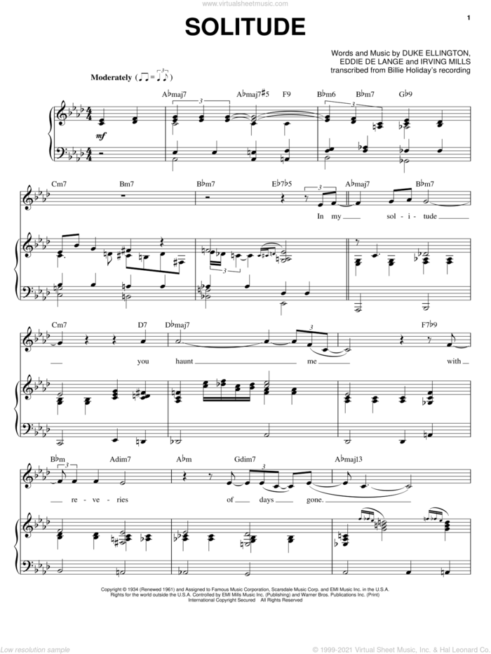 Solitude sheet music for voice and piano by Billie Holiday, Duke Ellington, Eddie DeLange and Irving Mills, intermediate skill level
