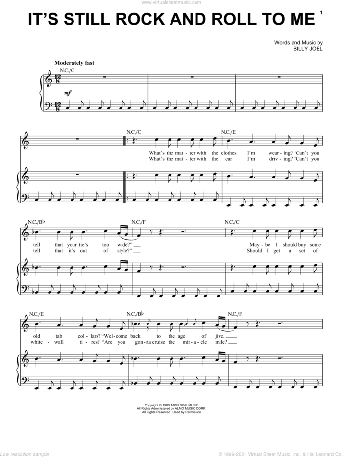 It's Still Rock And Roll To Me sheet music for voice, piano or guitar by Billy Joel, intermediate skill level