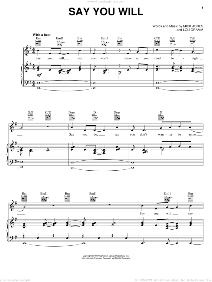 Say You Will sheet music for voice, piano or guitar by Foreigner, Lou Gramm and Mick Jones, intermediate skill level