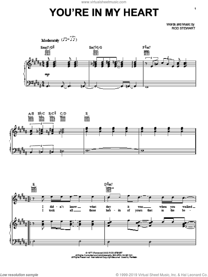 You're In My Heart sheet music for voice, piano or guitar by Rod Stewart, intermediate skill level