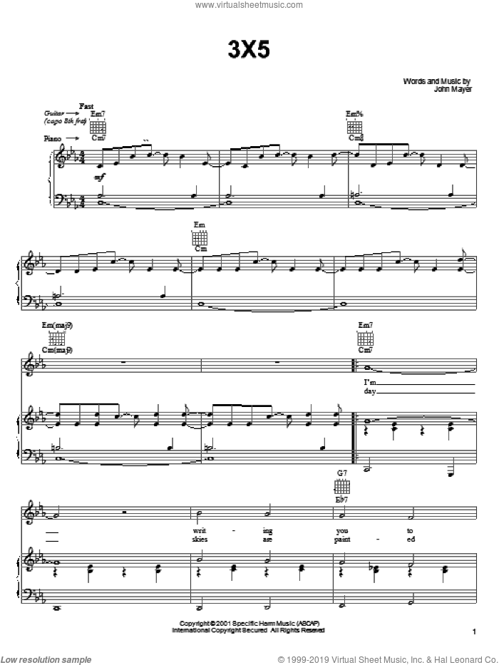 3X5 sheet music for voice, piano or guitar by John Mayer, intermediate skill level