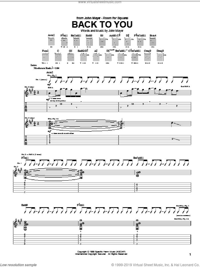 Back To You sheet music for guitar (tablature) by John Mayer, intermediate skill level