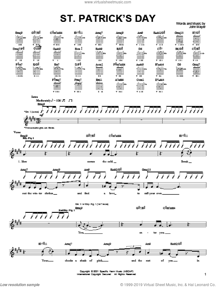 St. Patrick's Day sheet music for guitar (tablature) by John Mayer, intermediate skill level