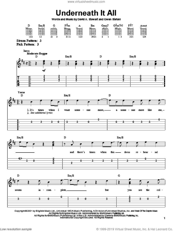 Underneath It All sheet music for guitar solo (easy tablature) by No Doubt, Dave Stewart and Gwen Stefani, easy guitar (easy tablature)