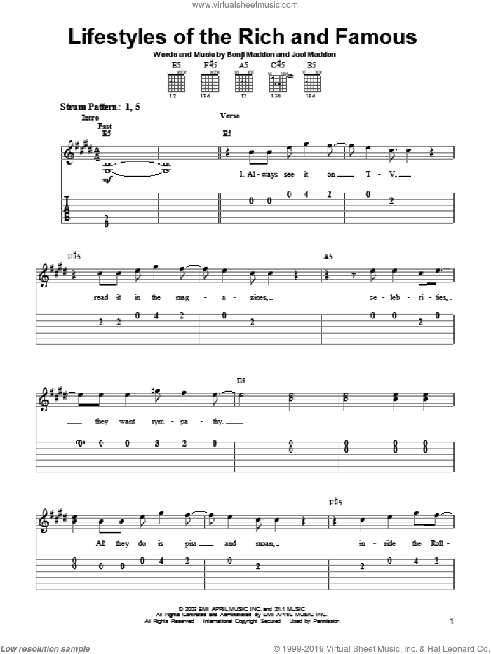 Lifestyles Of The Rich And Famous sheet music for guitar solo (easy tablature) by Good Charlotte, Benjamin Combs and Joel Combs, easy guitar (easy tablature)