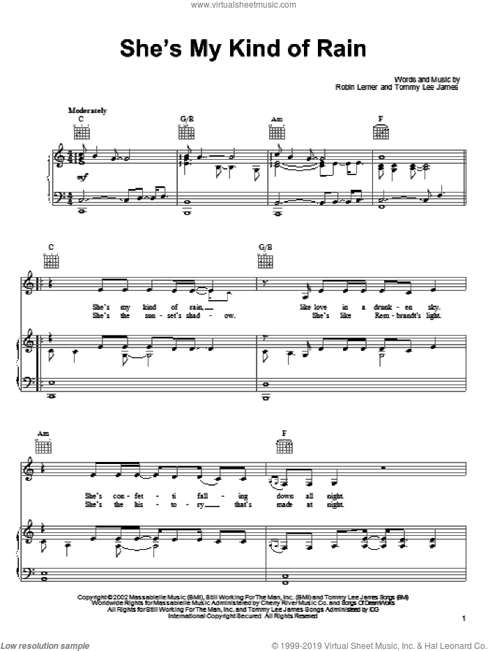 She's My Kind Of Rain sheet music for voice, piano or guitar by Tim McGraw, Robin Lerner and Tommy Lee James, intermediate skill level