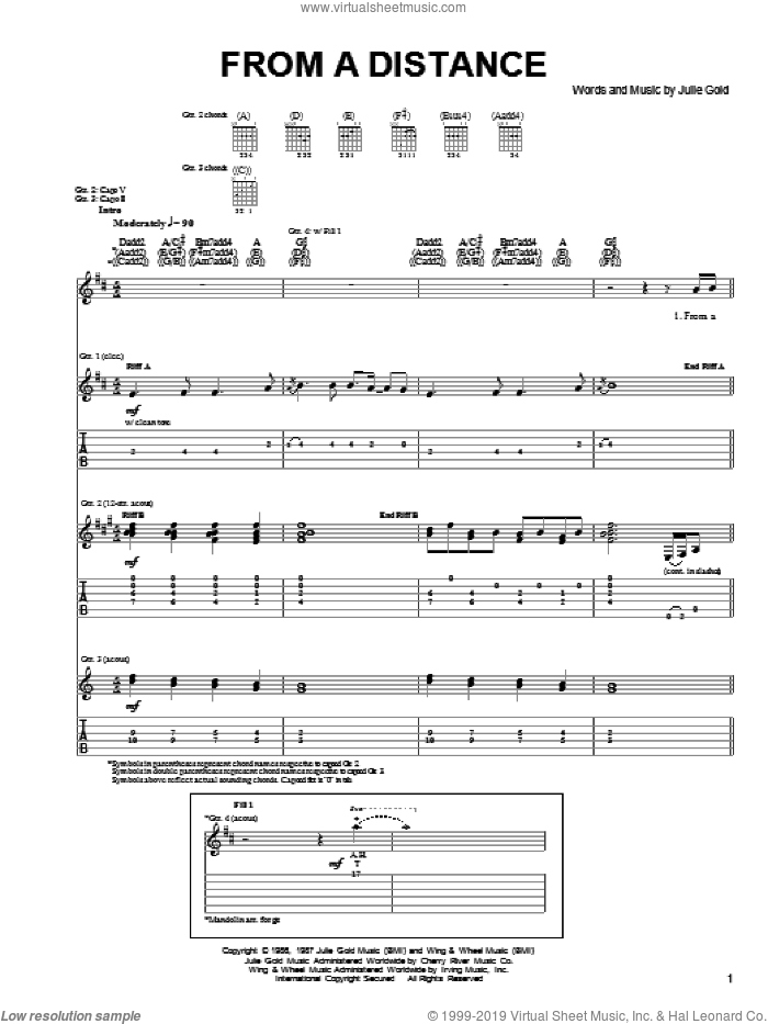 From A Distance sheet music for guitar (tablature) by The Byrds, Bette Midler, Nanci Griffith and Julie Gold, intermediate skill level