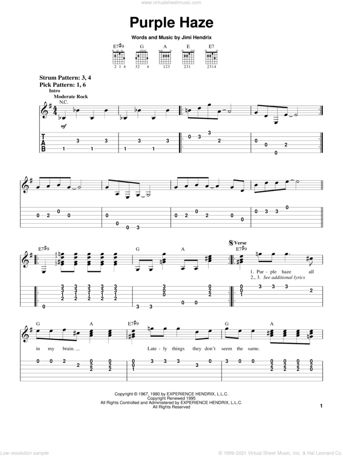 Purple Haze sheet music for guitar solo (easy tablature) by Jimi Hendrix and Winger, easy guitar (easy tablature)