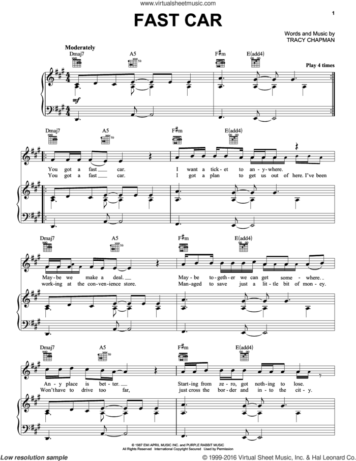 Fast Car sheet music for voice, piano or guitar by Tracy Chapman, intermediate skill level